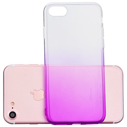 HB-Int 3 en 1 Transparente Housse TPU Etui pour Apple iPhone 7 (4.7 pouces) Clear Invisible Case Cover Bleu Gradient Couleurs Design Coque Doux Silicone Gel Couverture Légère Slim Flexible Coque Prote Pourpre