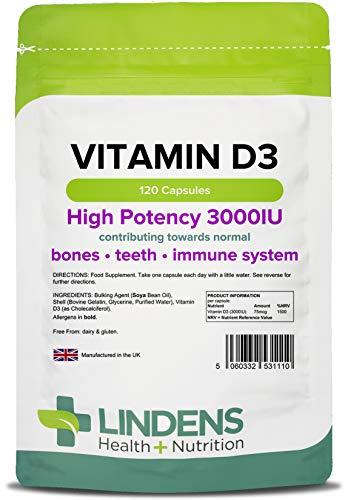 Lindens Vitamin D3 3000iu Capsules | 120 Pack | Uk Manufacturer