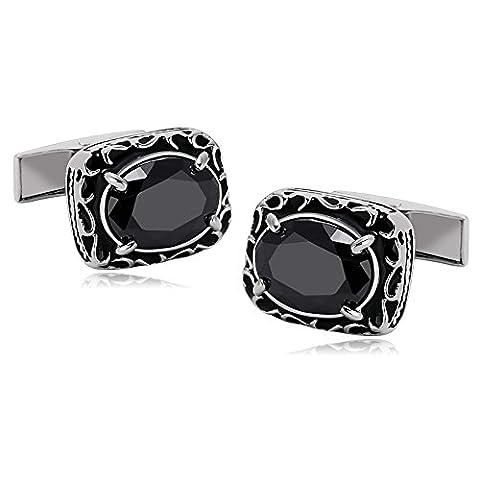 AMDXD Bijoux Acier Inoxydable Boutons de Manchette pour Homme Rectangle 4 Griffes Cristal Ovale Noir 1.8X1.5CM