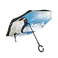COOSUN Penguins And Snowflake Frame Double Layer Inverted Umbrella Reverse Umbrella for Car and Outdoor Use Rain Windproof Waterproof UV Protection Big Straight Umbrella With C-Shaped Handle