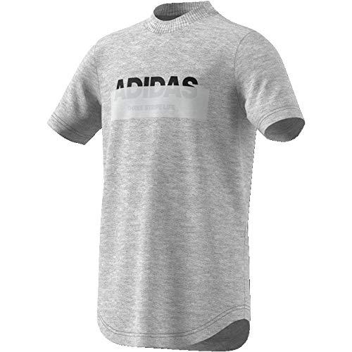 adidas Jungen YB ID LIN T-Shirt, medium Grey Heather/Black, 7-8A