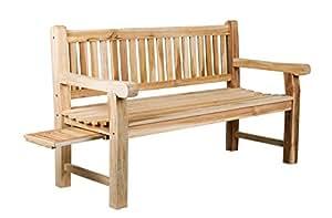 Trendy-Home Massive stabile 3-Sitzer Teakholz Bank Bento Massivholz Holzbank Gartenbank ca. 150 cm breit Sitzbank mit Tablett