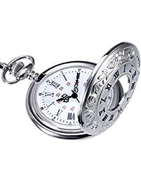 Reloj de Bolsillo de Cuarzo Plateado Clásico de Números Romanos con Cadena