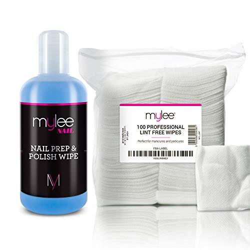 Mylee Prep & Wipe Gelnagellack Glanztuch Restereiniger Nagellackentferner 250ml + 100x fusselfreie Tücher, Vor- und Nachbereitung, UV LED GEL Lackbasis Tücher für die Vor- und Nachbehandlung -