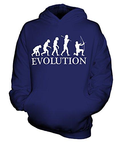 CandyMix Bogenschießen Bogenschütze Evolution Des Menschen Unisex Kinder Jungen/Mädchen Kapuzenpullover, Größe 3-4 Jahre, Farbe Navy Blau