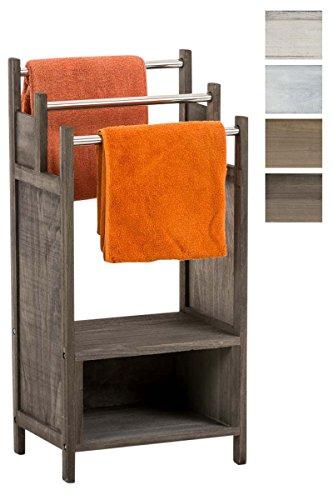 Clp portasciugamani osaka in legno di paulonia, portasalviette da terra in stile rustico a 3 aste e con 2 ripiani, portaasciugamano mobile shabby per il bagno marrone scuro