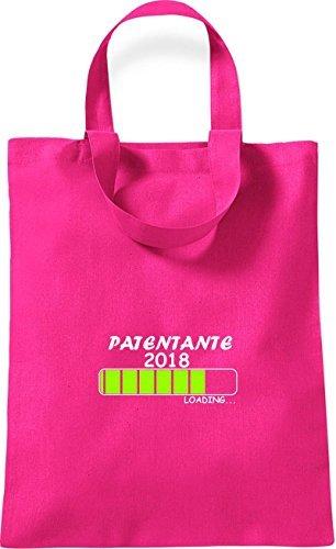 T-shirt Piccola In Cotone Con Stampa Patentante 2018 Caricamento Regalo Di Nascita Rosa