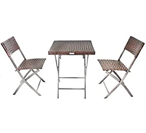 Bentley Garden - Salon de jardin pliable style bistro - 1 table/2 chaises - imitation rotin - marron foncé