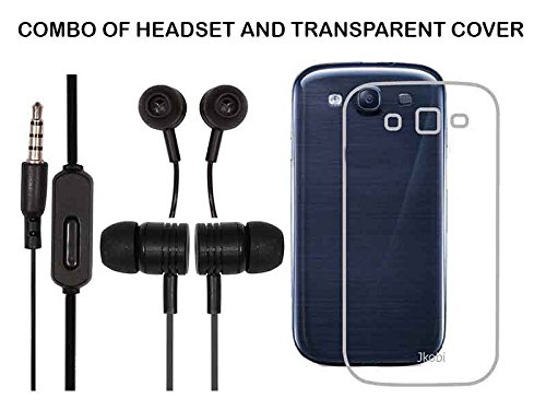 Value Combo Of Black Headset And Soft Transparent Clear Back Case Cover For Samsung Galaxy S3 Neo i9300