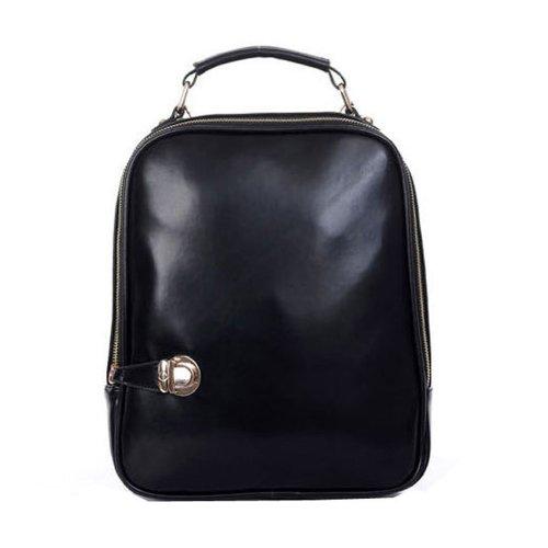 SODIAL (R) delle donne a duplice uso dello zaino della borsa della borsa per Tablet Satchel del cuoio del Faux Zaino Nero
