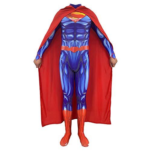 Kostüm Superhelden Themen - Hope Superman: Man of Steel 2 Siamesische Strumpfhose, Kinder Männer Jungen Superheld Cosplay Kostüm Thema Party Halloween Kostüm Overall Mantel,A-180~190 cm