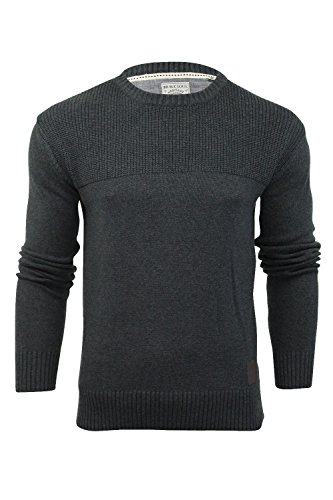 Herren Pullover Brave Soul 'Dynamic' Baumwolle Gestrickt Rundhals Sweatshirt Dynamic (Holzkohle)