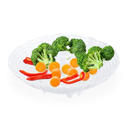 Relaxdays 10024702_49 Dünsteinsatz für Töpfe, faltbar, Dampfgarer Einsatz m. Griff, stehend, für Gemüse, Dünstkorb 22 cm D, PP, weiß, Kunststoff