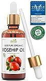 Hagebuttenöl 100% Reines Bio Kaltgepresst | 50ml | Anti-Aging, Pflege, Vitamin A/B/C/E reichhaltiges Wildrosenöl | Behandelt Falten, Fältchen, trockene Haut | 100% BIO Gesichtspflege