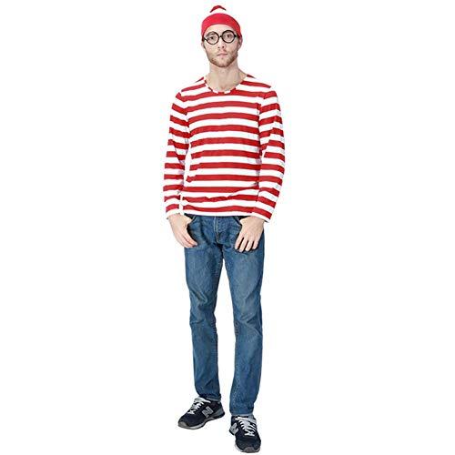 GMIOWEU Where e's Waldo Kostüm, Halloween-Kostüm, Kapuzen-Kostüm, Brille, Hut, Hemd, Anzüge - Rot - XXX-Large
