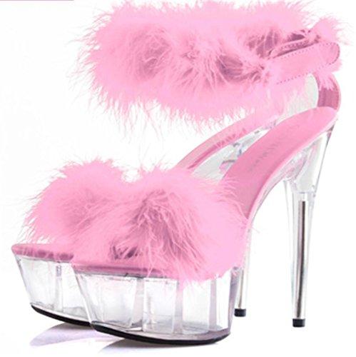 HETAO Persönlichkeit Frauen Kristall Plüsch Hohle Schuhe Gericht Schuhe Sexy FunnyPumps Open-Toe Fersen Federn High-Heel Sandalen, 42, Pink Geschenk Des Mädchens