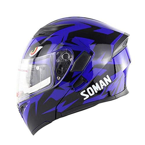 L&WB Windsicherer Motorrad Warm-Helm enthüllt Helm Doppel-Linse Ganze-Gesicht-Lokschuch,E,M(57~58cm)
