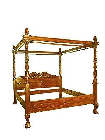 Himmelbett Bett Doppelbett Antik Stil Massivholz Nussbaum-Farbton hell (6156)