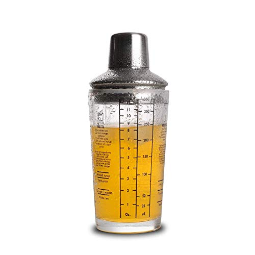 Sanlan Cocktail-Shaker, 340 ml, Martini-Rezepte mit Messglas und Edelstahl-Top-Cobbler Shaker, ideales Geschenk für Anfänger Martini-shaker Top