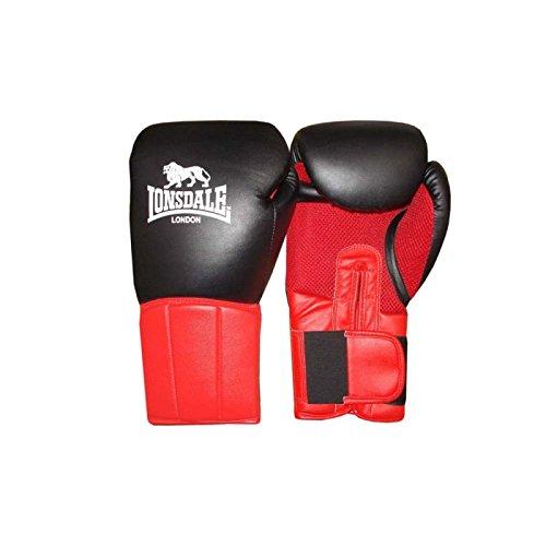 Lonsdale Erwachsene Performer Boxhandschuh, schwarz/Rot, 12 oz