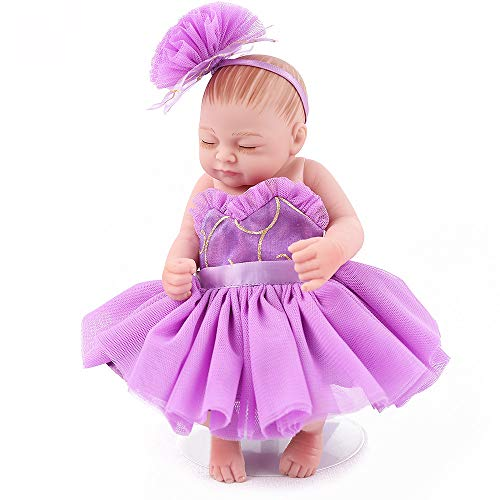 Unexceptionable-Dolls Babypuppen,Puppe Reborn Baby Mini 10-Zoll-Mädchen lila Kleid Promotion Collection Prinzessin Rock lebensechte Neugeborenen Babe Boneca Geburtstagsgeschenk für Mädchen