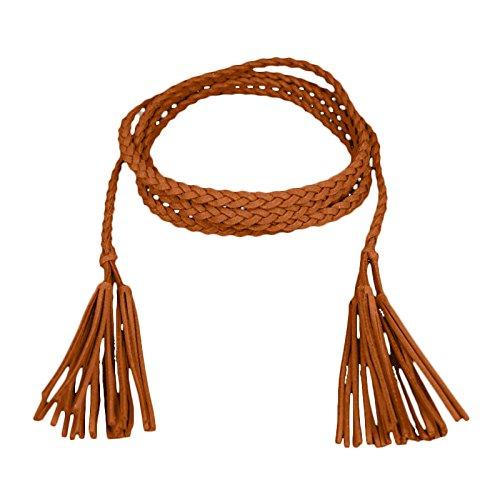 Mädchen Dekorative Gestrickte Lederbauchkette / Seil / Gurt mit Troddel PDW0040 (176cm lang, Camel) (Seil Gürtel)
