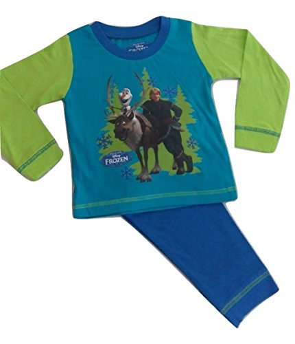 Disney Kinder Mädchen Jungen Offizielles Frozen Queen Elsa Anna Schlafanzug Kinder 2-teilig Set PJ 's Lange Ärmel 100% Baumwolle Größe 1–12Jahre, Blau (Pj Baumwolle Herren)