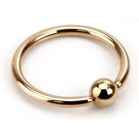 Oro rosa placcato Captive Bead anello (CBR)/Palla chiusura anello/cerchio–1,6mm x 12mm