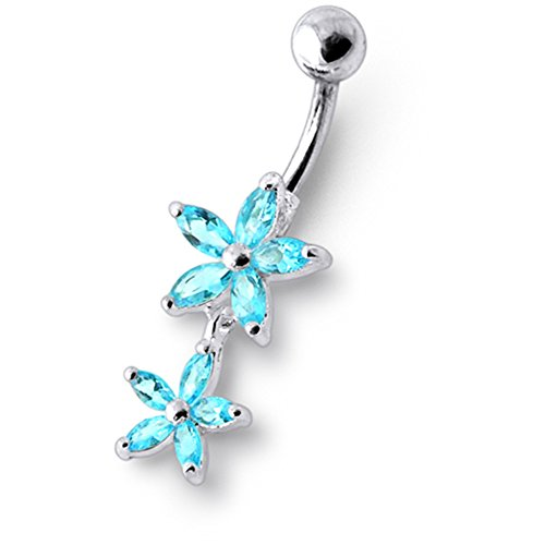 Bijou anneau nombril en argent sterling 925 double fleurs pierres fantaisies et pendant Banane 14Gx3/8(1.6x10MM) acier chirurgical 316L et boule 5mm Light Blue