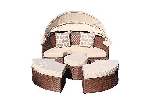 yakoe Papaver Rattan Tagesbett Garten-Möbel im Gartenliege Terrasse Sofa plus Tisch mit Sonne Dach