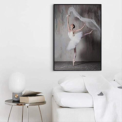 liwendi Retro Vintage Ballerina Schönheit Bild Einfache Moderne Wohnzimmer Dekoration Malerei Nordic Dekoration Home Leinwand Kunst Wand Poster 40 * 60 cm - Bilder Vintage Ballerina