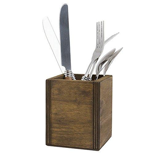 Chalkboards UK Table Top Cutlery Holder, Wood, Dark Oak, 8 x 8 x 10 cm