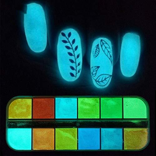 KNOSSOS 12 Griglie/Set Polvere per Unghie in Polvere Luminosa Super Brillante Glitters Nail Art
