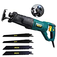 URCERI Reciprocating Saw, 850W 2800SPM Sabre Saw with Rotary Handle(90° Left & Right), LED Light, Variable Speed, Includes 4 Blades Ideal for Wood Metal Tiles Cutting