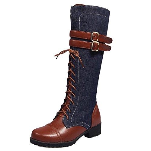 RAZAMAZA Damen Mode Jeans Mitte Wade Martin Stiefel Schnalle Blue Size 34 Asian (Schnalle Mitte Wade Stiefel)