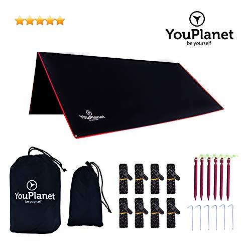 YouPlanet® Premium Tarp | Hochwertiges Ripstop Polyester | extrem reißfest – Wasserdicht | Outdoor Zelt 3x3m - Sonnenschutz – Regenschutz – Picknickdecke - Zeltplane – Camping Shelter - Hammock
