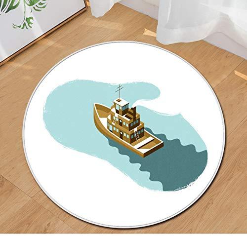 Teppich Runde Wohnkultur Kreative Boot Modernen Stil Hotel Schlafzimmer Wohnzimmer Kinderzimmer Teppiche100X100Cm Hotel-boot