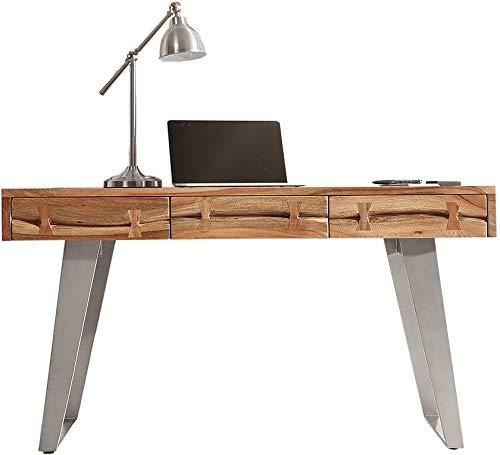 DELIFE Schreibtisch Live-Edge 137 cm Akazie Natur Baumkante
