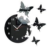 Große moderne Wanduhr Schmetterling Schwarz rund 30cm, 3d DIY, Wohnzimmer, Schlafzimmer, Kinderzimmer