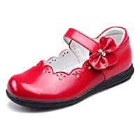 Sunny-U Kids Baby Girls Red Mary Jane Flat Rhinestone and Cute Bowknots Decorated Leather School Ballet Shoes 8-12