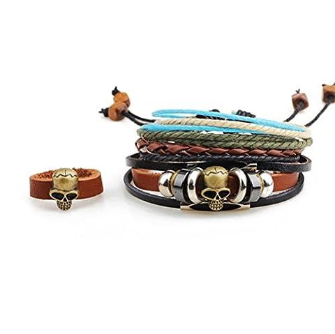 Secret de Winter Ensemble trois pièces antiques Skullbone faite à la main en perles Bracelet en cuir réglable