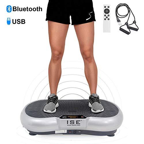 ISE Fitness Vibrationsplatte mit Bluetooth-Lautsprecher,USB,Vibro Shaper 99 Geschwindigkeitsstufen 6 Programme, Silber(SY-328-BS)
