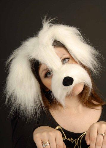Maschera cane Shaggy bianco su archetto - Cane Carino Travestimenti