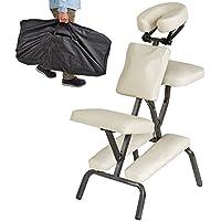 TecTake Chaise de Massage avec Sac de Transport - diverses couleurs au choix - (Beige)