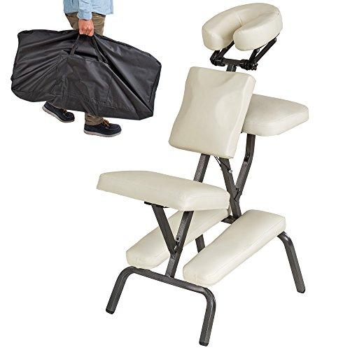 TecTake Massagestuhl Tattoostuhl + Tasche (Beige) (Stuhl-massage-stühle)