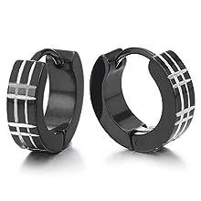 iMECTALII Pair Unisex Men Women Stainless Steel Silver Black Huggie Hinged Hoop Earrings with Laser Pattern