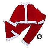 Sunenjoy Bébé Santa Noël Cosplay 3 PCs Enfant Bébé Garçon Fille Noël Partie Vêtements Costume O-Neck Bouton Couvert T-shirt avec Ceinture + Pantalons + Chapeau Tenue (10-11 ans)