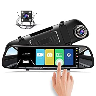 Accfly Mirror Dash Cam 1080P Dual Lens 7 Inch IPS Touch Screen Front and Rear View Waterproof Backup Camera 170°Wide Angle G-sensor Parking Monitor Motion Detection Reversing Camera