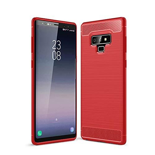 Kit Me Out DE® Galaxy Note 9 Schutzhülle TPU-Gel Gebürstete Carbonfaser Hülle Rückseite - stoßfest & robust - für Sansung Galaxy Note 9 - Rot