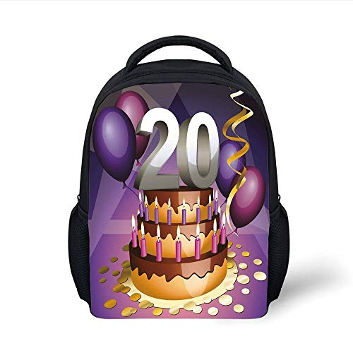 Kids School Backpack 20th Birthday Decorations,Cartoon Print Birthday Cake Golden Frosting and Candles,Purple and Lilac Plain Bookbag Travel Daypack